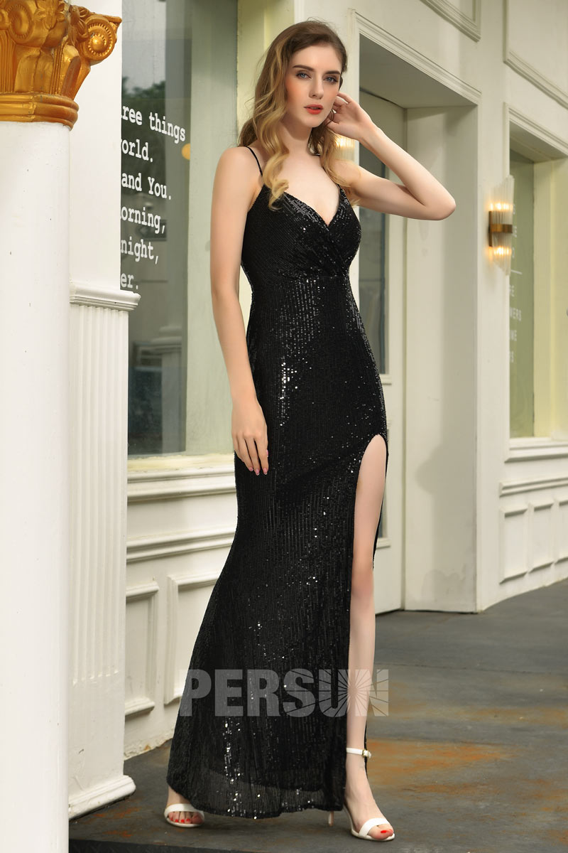 robe de cocktail sexy en sequins longue fendue noire encolure en V à bretelle fine