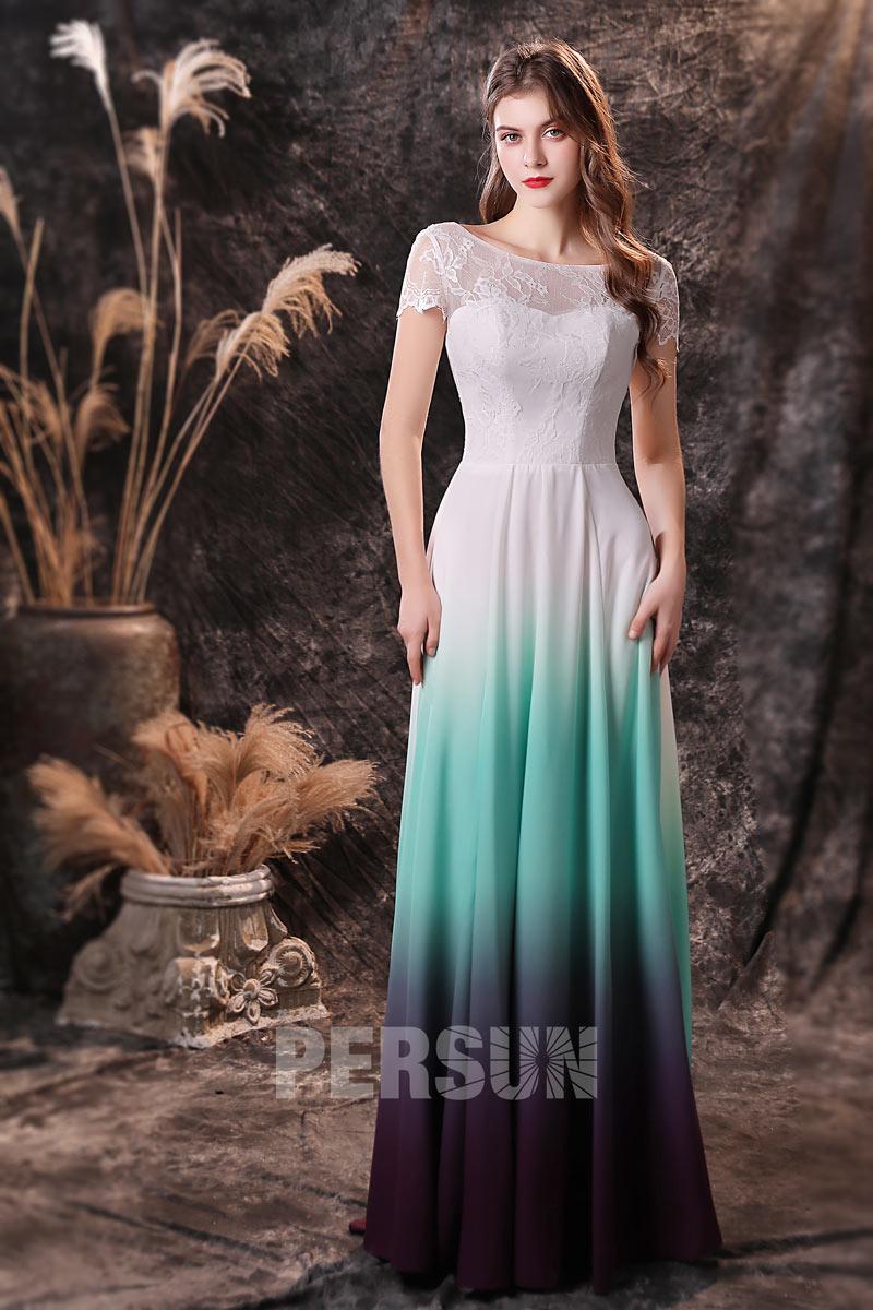 robe de cocktail longue tricolore dégradé 2021 haut dentelle manche courte