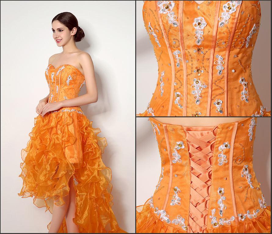 robe de bal orange pas cher courte devant longue derrière