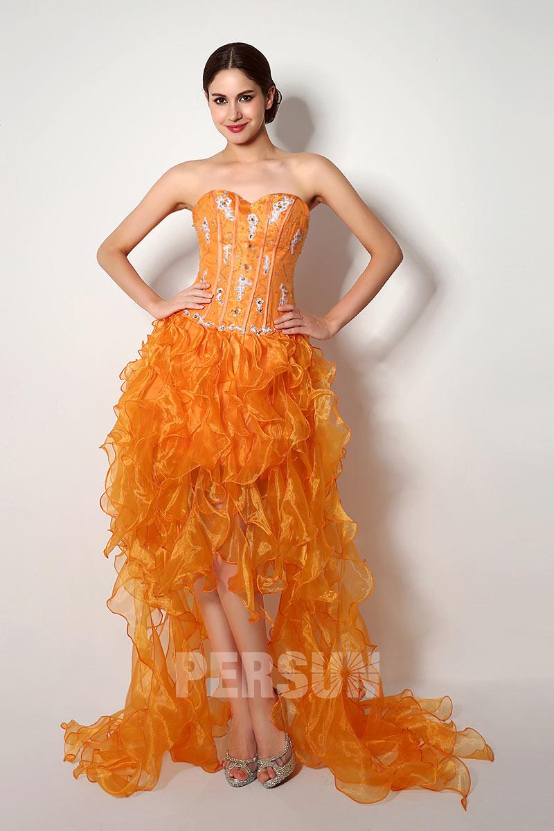 robe de soirée courte devant longue derrière orange bustier coeur appliquée dentelle et strass et jupe à volant