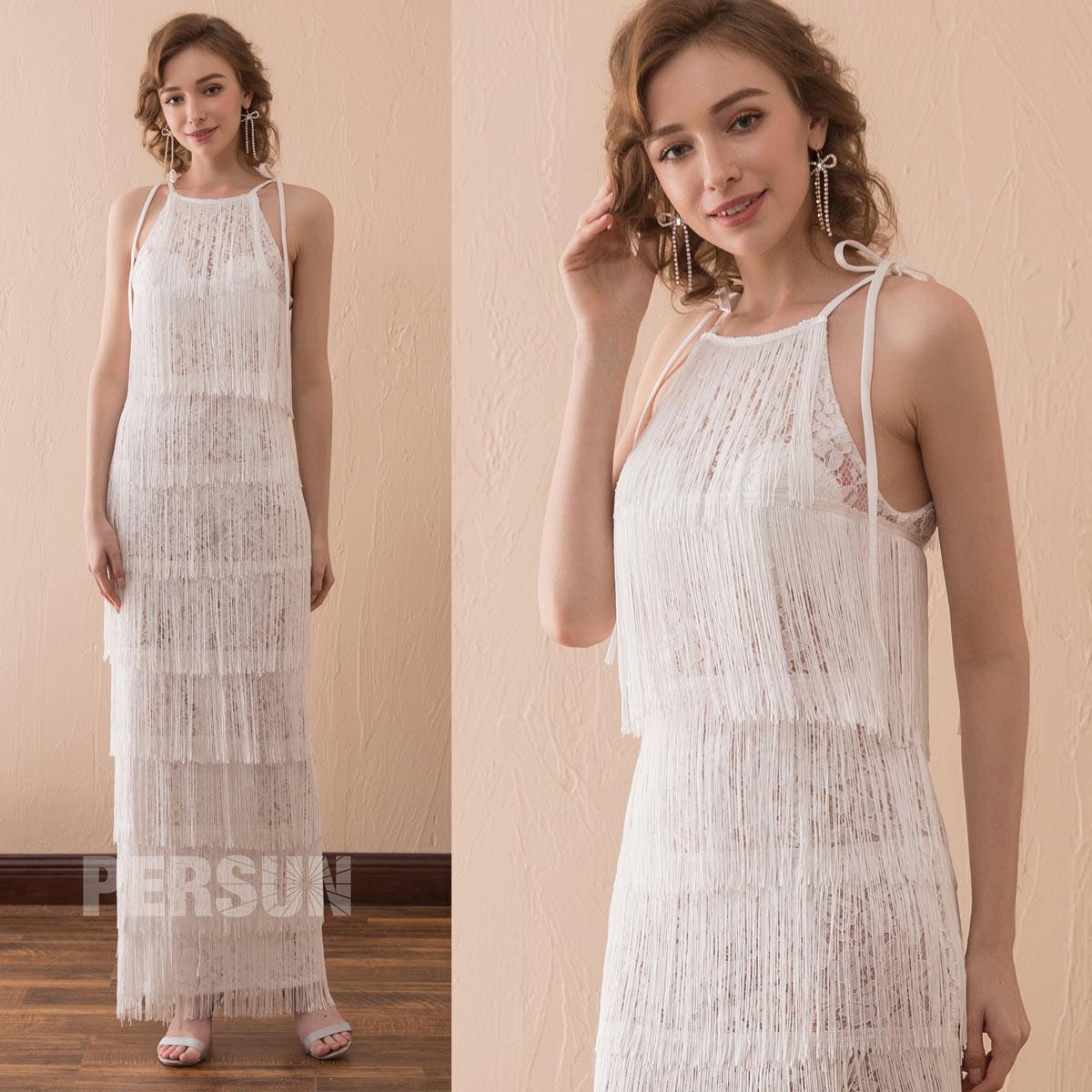 robe d'été ivoire longue dentelle à franges