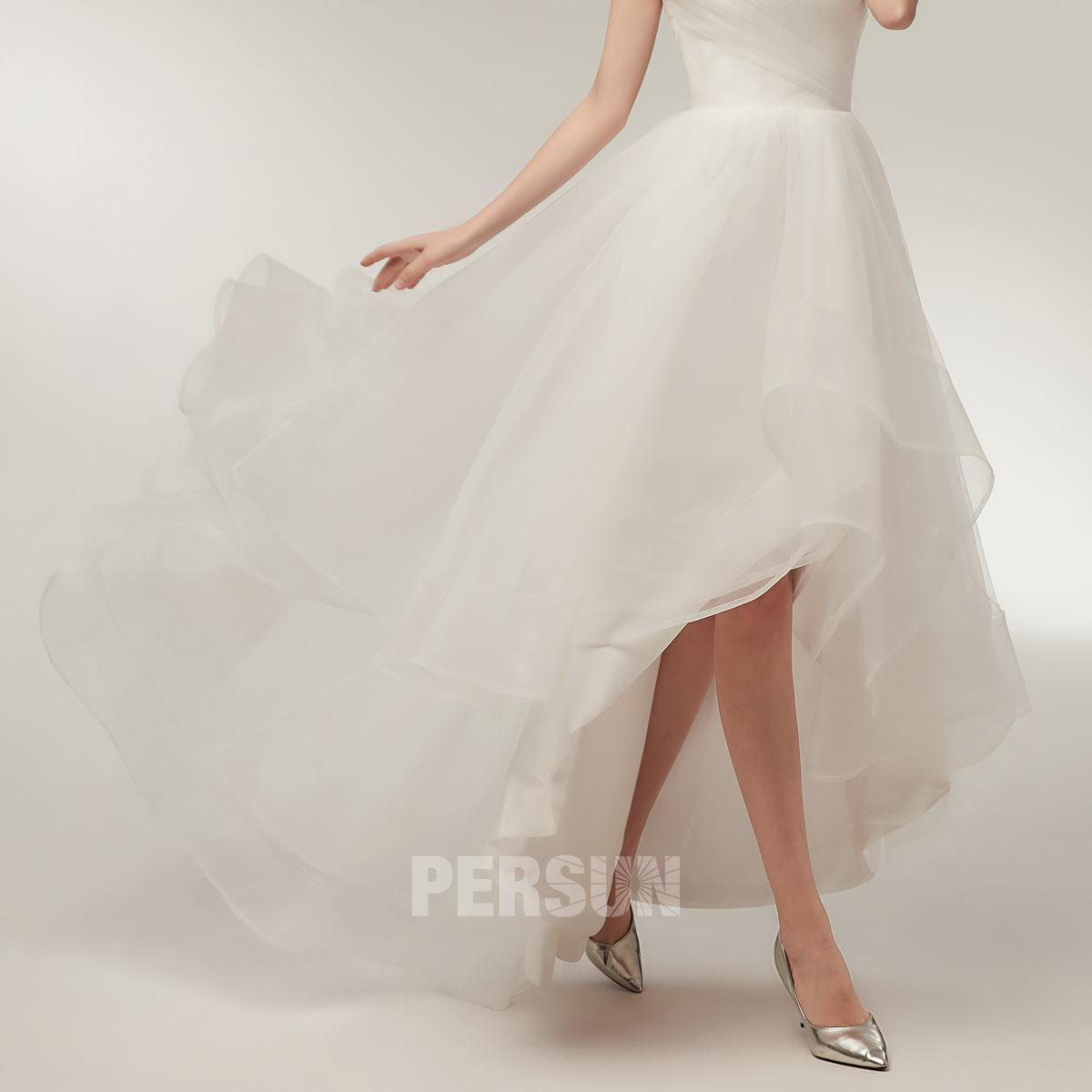robe mariée à jupe court devant longue derrière