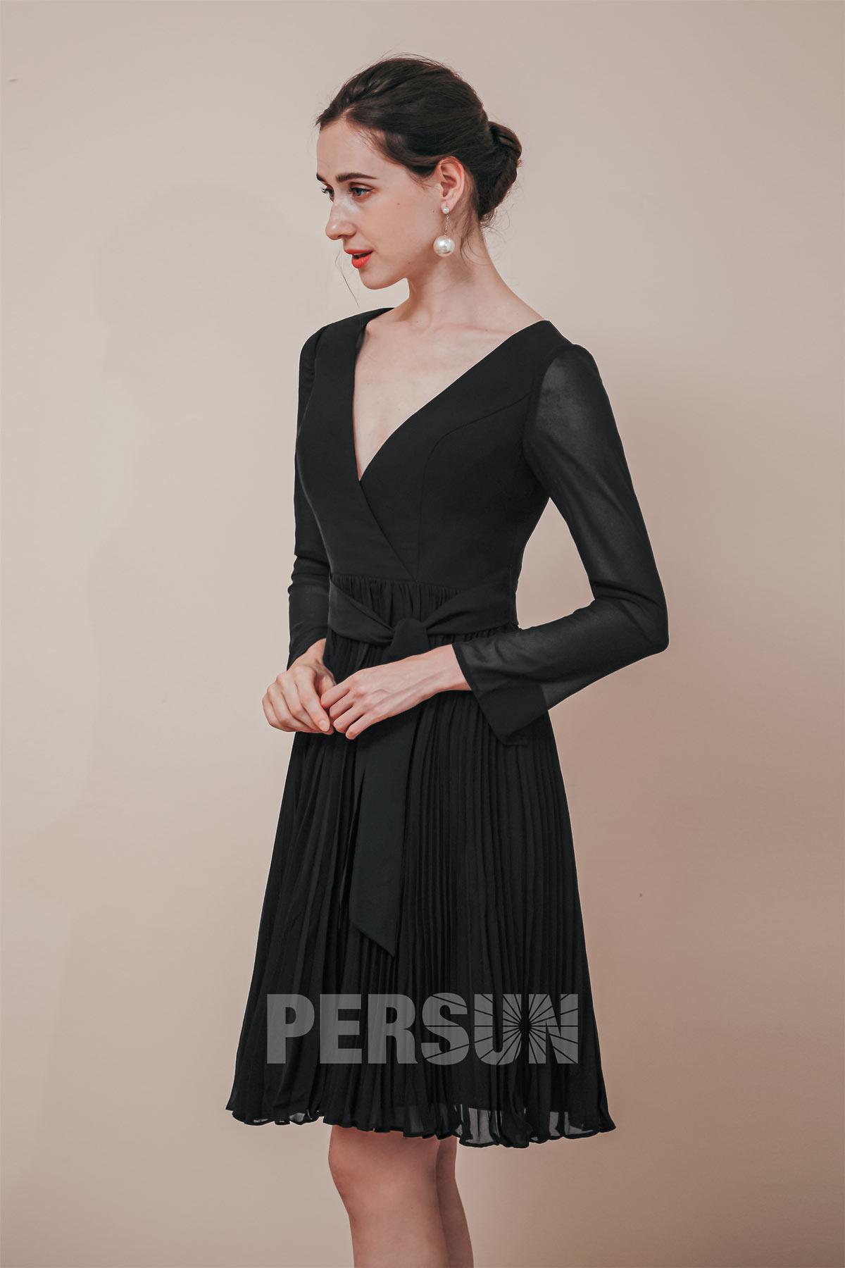 Robe de cocktail noire courte plissé cache coeur à manche longue