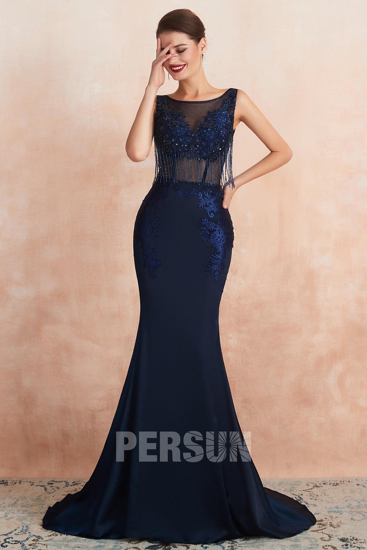 Robe cérémonie sirène bleu nuit taille transparent avec franges