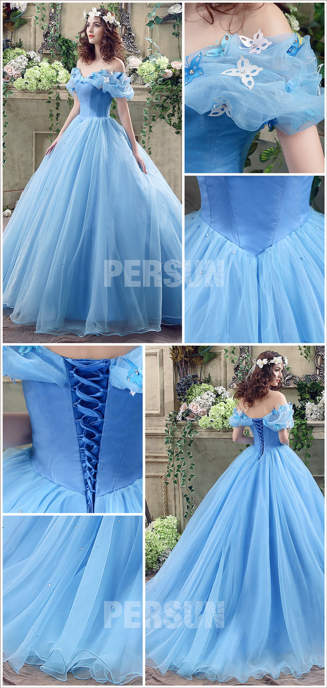 robe de mariée bleu 2020 cendrillon pas cher