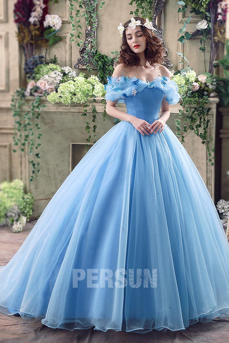 robe de mariée princesse bleu col bardot Cendrillon