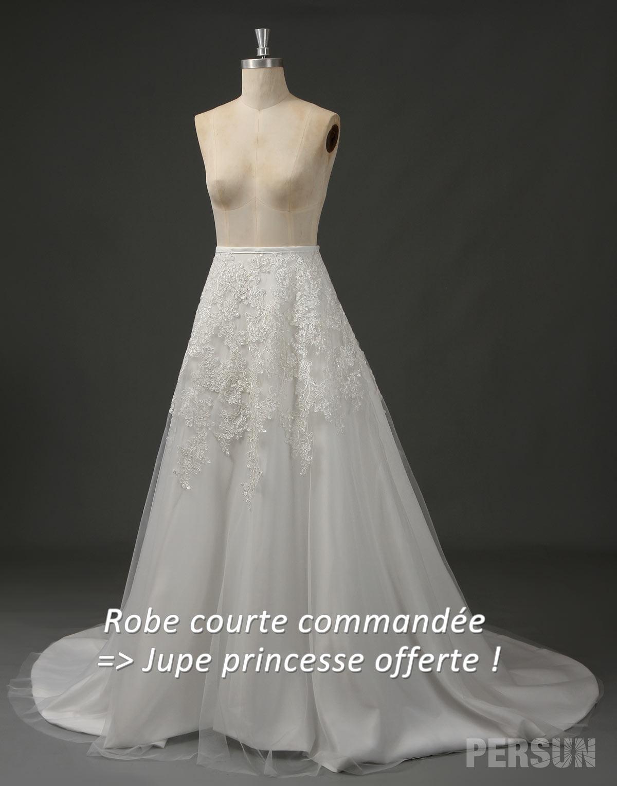 jupe princesse appliquée offerte si robe courte commandée