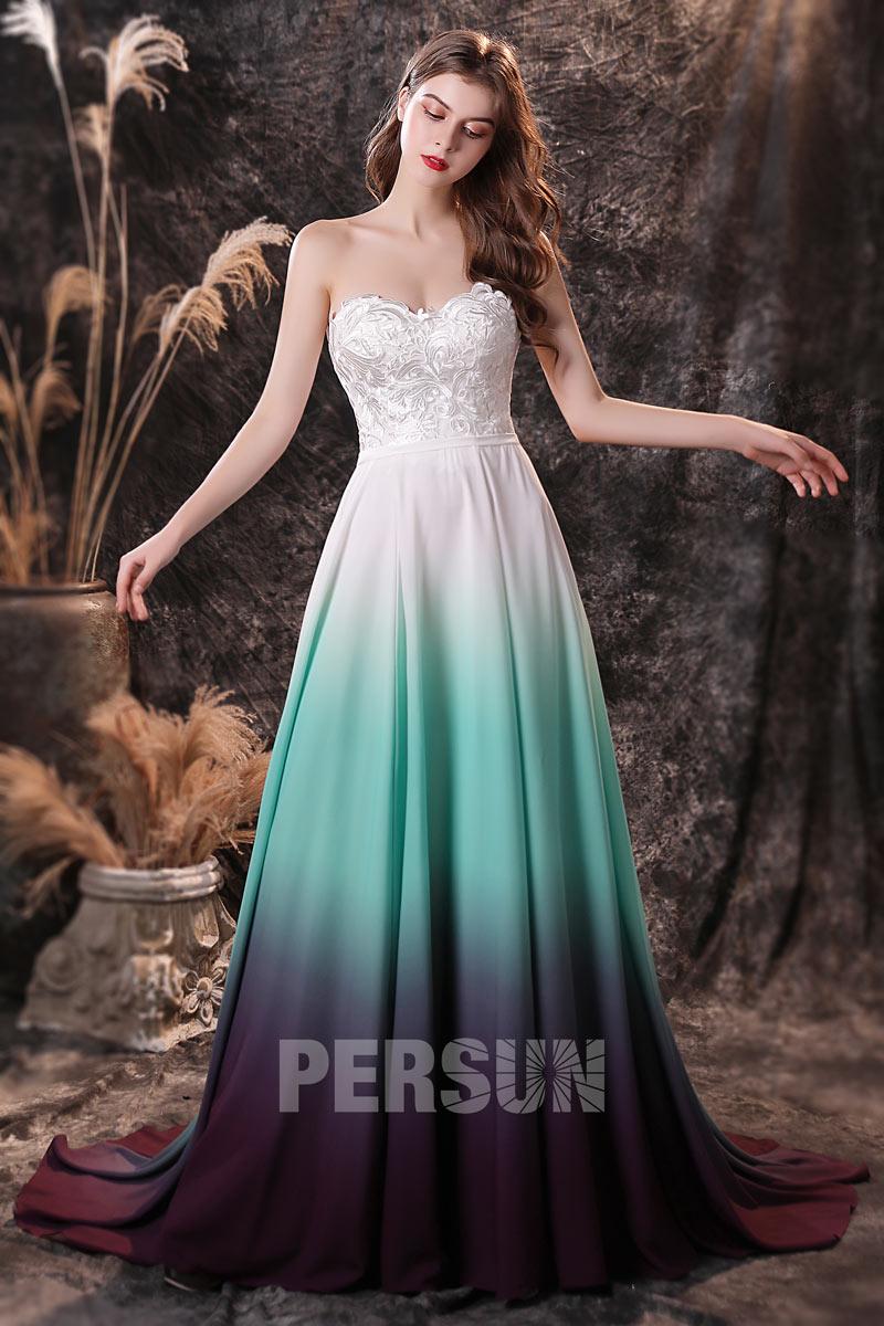 robe soirée longue bustier coeur en dentelle guipure jupe tricolore dégradé
