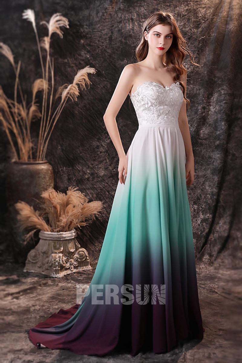 robe de mariée blanche bustier coeur en guipure à jupe degradée en vert et violet