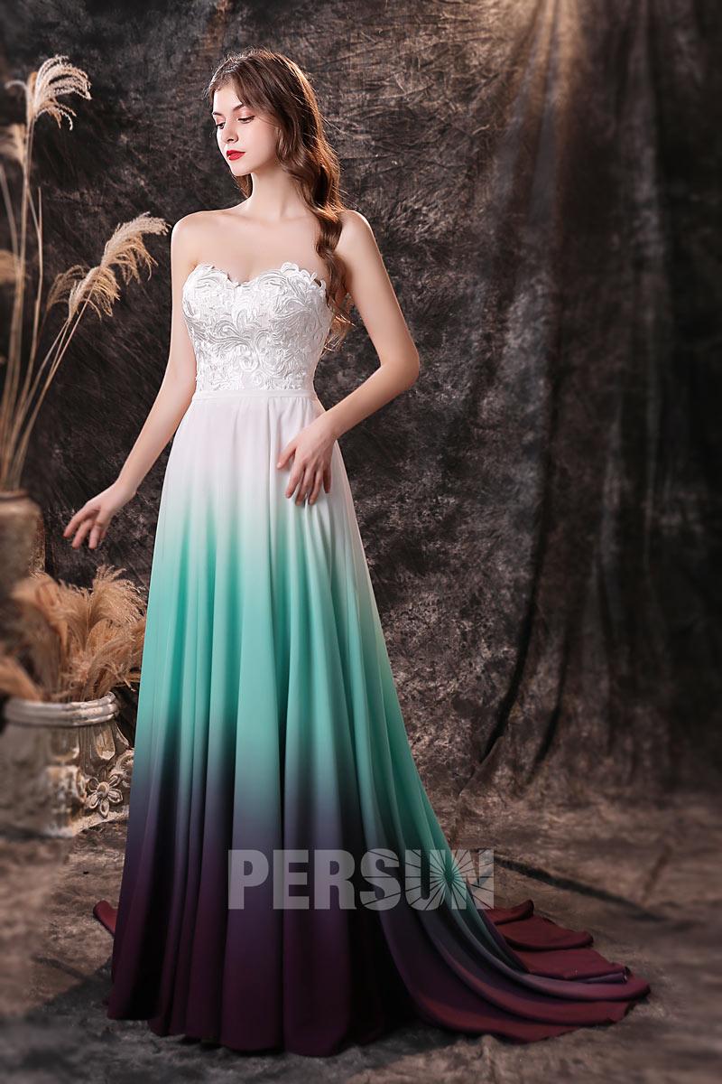 robe de soirée longue tricolore bustier brodé