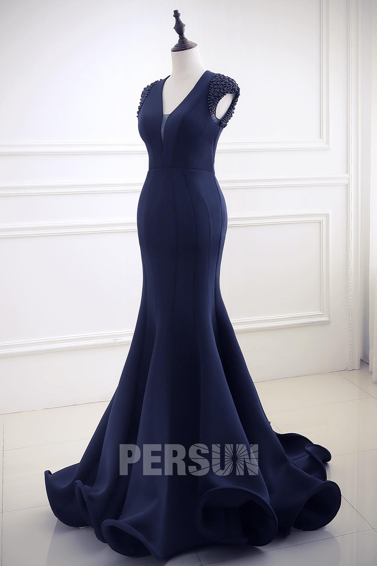 robe soirée sirène bleu nuit dos nu mancheron travaillé