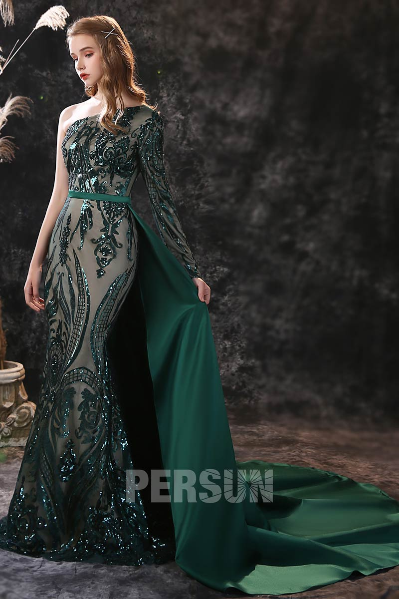 robe soirée sirène vert foncé dentelle sequins décolleté asymétrique