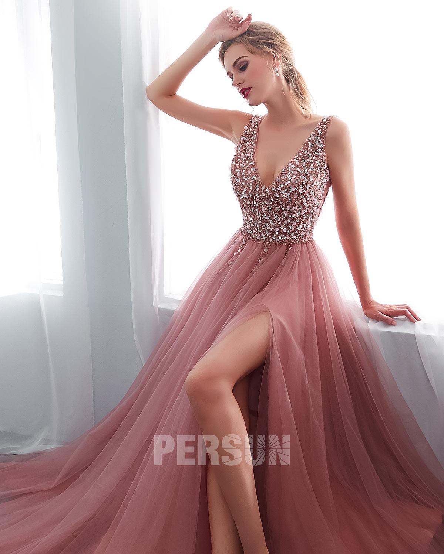 robe de bal fendue sexy rose 2020 Persun
