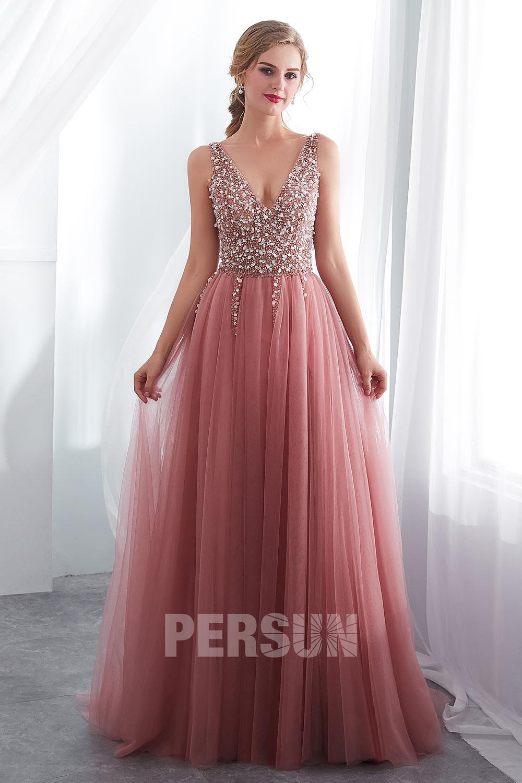 robe de soirée 2020 longue rose col v haut travaillé de bijoux exquis