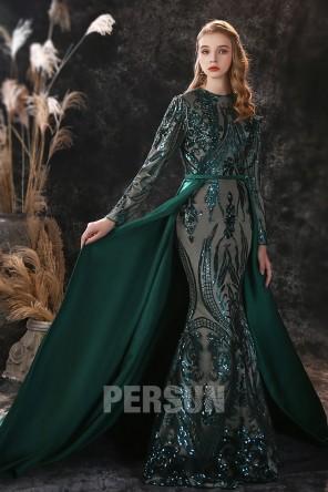 Robe sirène vert pailletée aux manches longues avec traîne pour soirée hiver