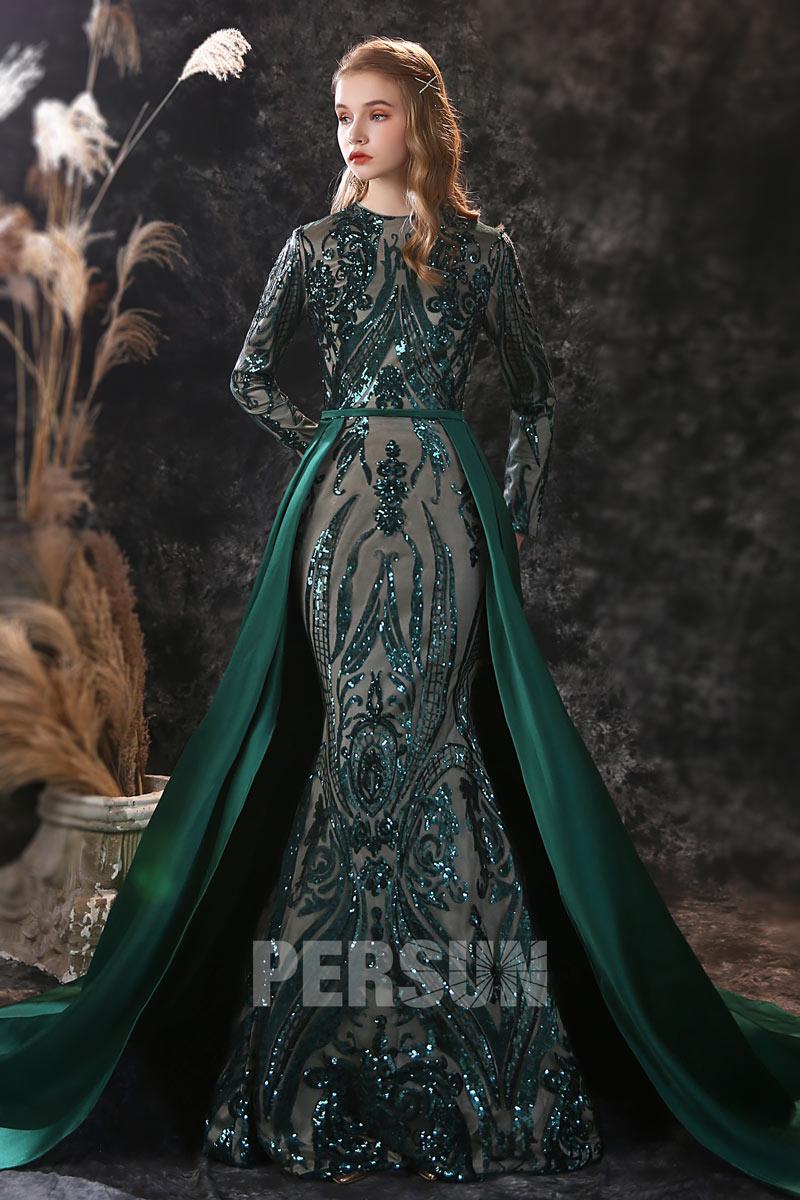robe mariée sirène vert dentelle pailletée aux manches longues avec traîne