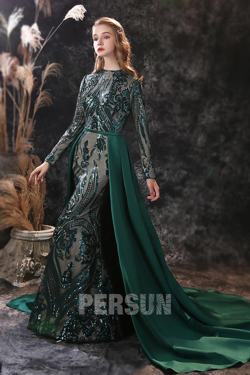 robe soirée sirène vert foncé dentelle pailletée aux manches avec traîne