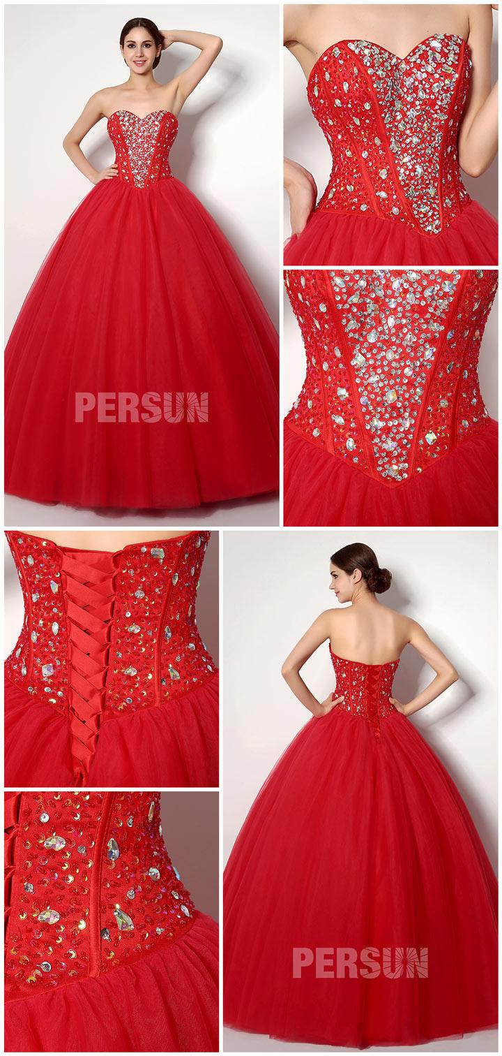robe de soirée corsage princesse tulle rouge à bustier étincelant