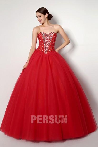 Robe de bal corsage rouge princesse à bustier brodé de strass argenté