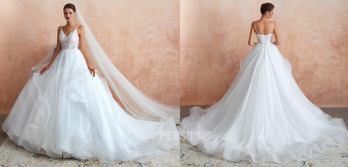 robe de mariée princesse haut dentelle avec bretelles fines jupe fantaisie