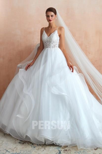 Nadja : Robe mariée princesse bustier dentelle avec bretelles fines jupe fantaisie
