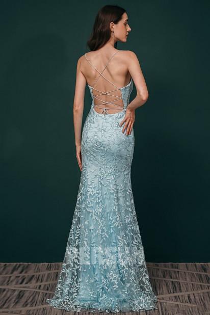 Robe de soirée vintage longue dos nu en dentelle bleu clair