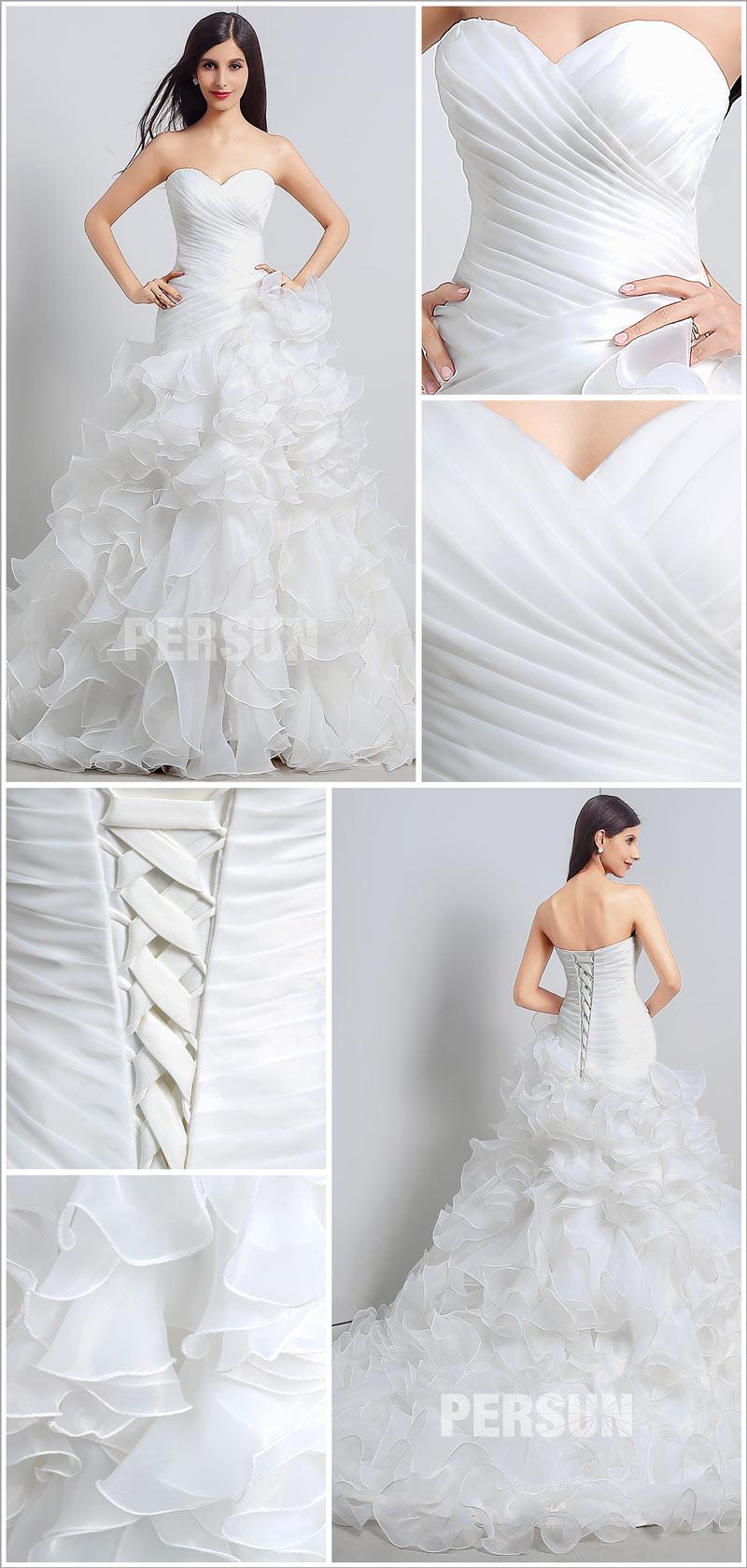 robe de mariée jupe volants avec traîne chapelle