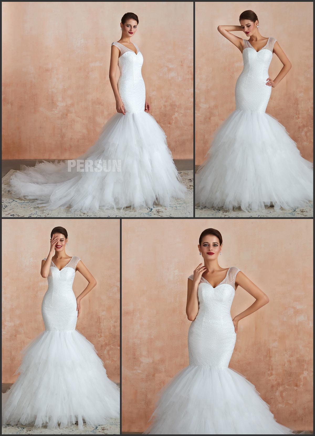 robe de mariée 2020 sirène décolleté V à jupe froufrou