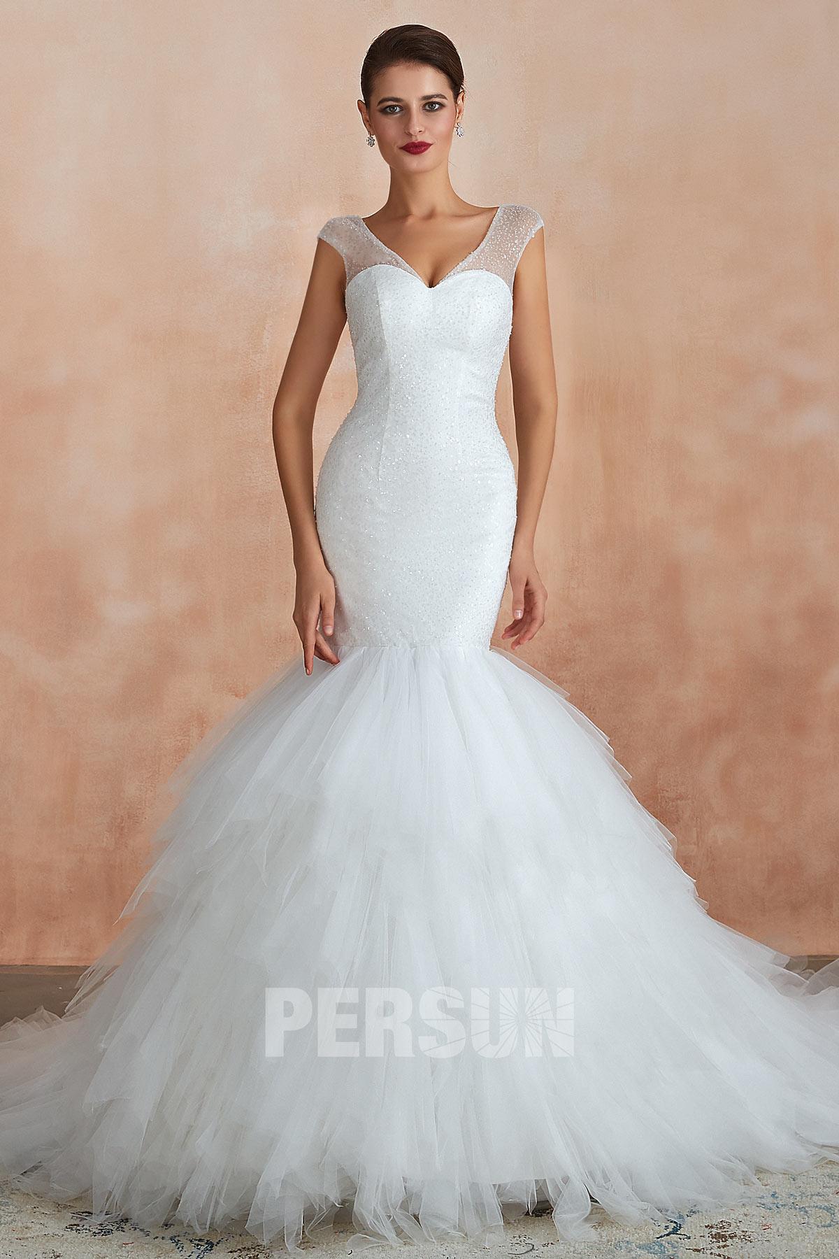 robe de mariée sirène élégante bretelle transparent en sequins