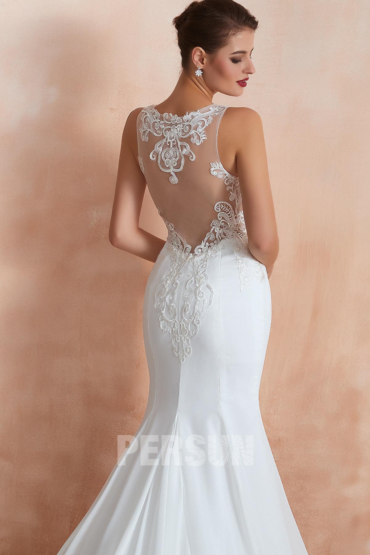 robe de mariée sirène 2020 dos en dentelle illusion