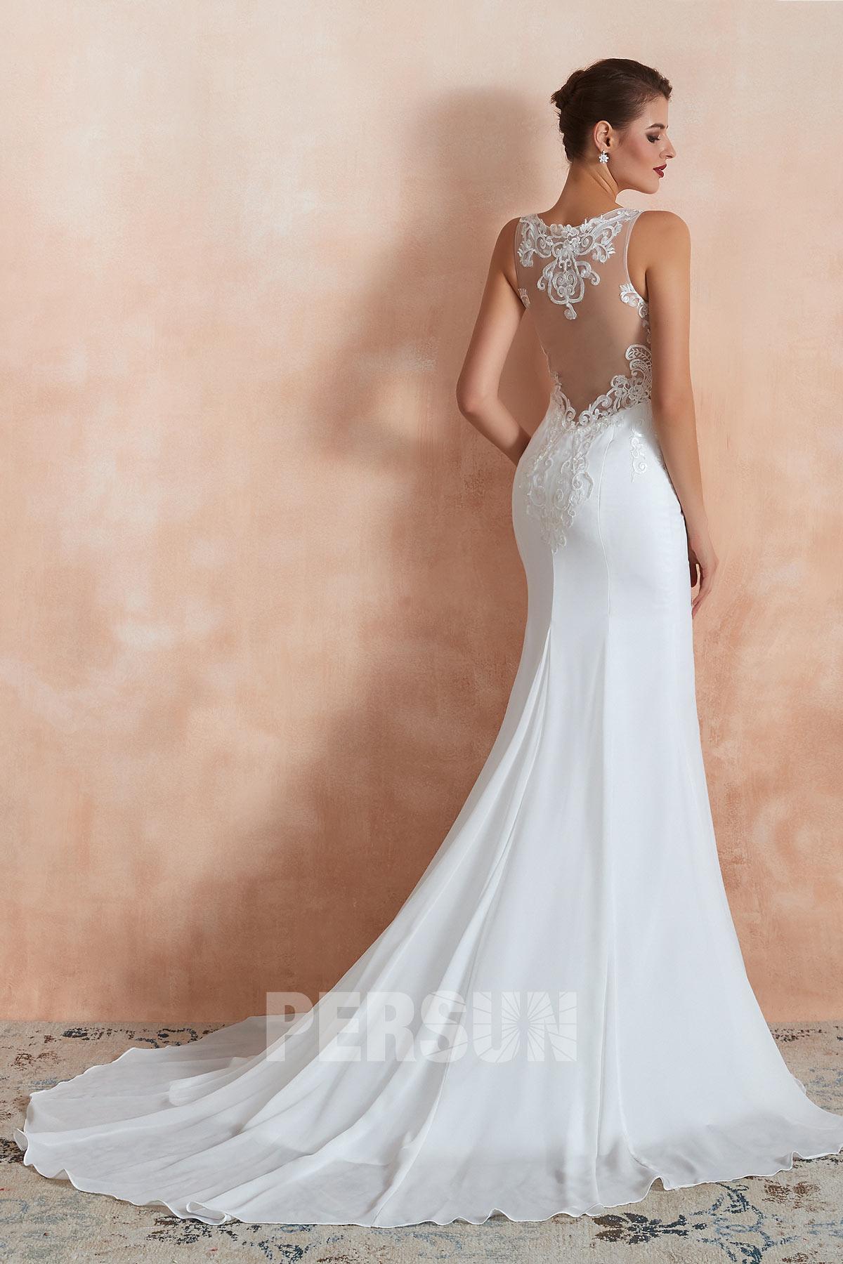 robe mariée sirène dos transparent appliqué de guipure avec traîne