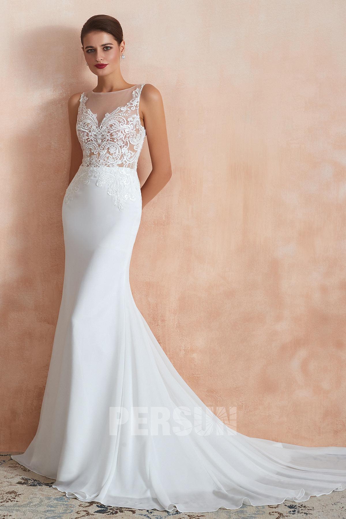 robe de mariée sirène bustier transparent appliqué de guipure pour femme enceinte
