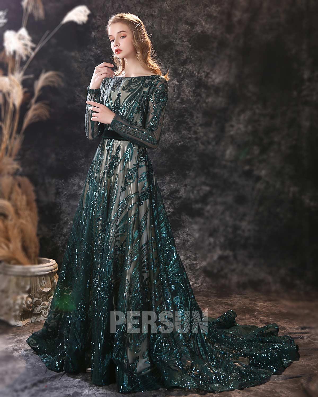 robe de soirée longue pailletée vert foncé col bateau à manche longue