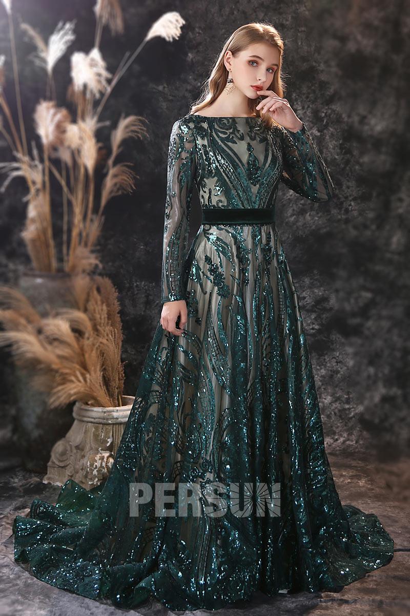 robe de mariée col bateau vert foncé en dentelle pailleté manche longue