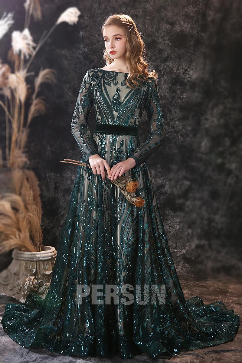 robe de soirée en dentelle pailletée vert foncé à manche longue pour mariage