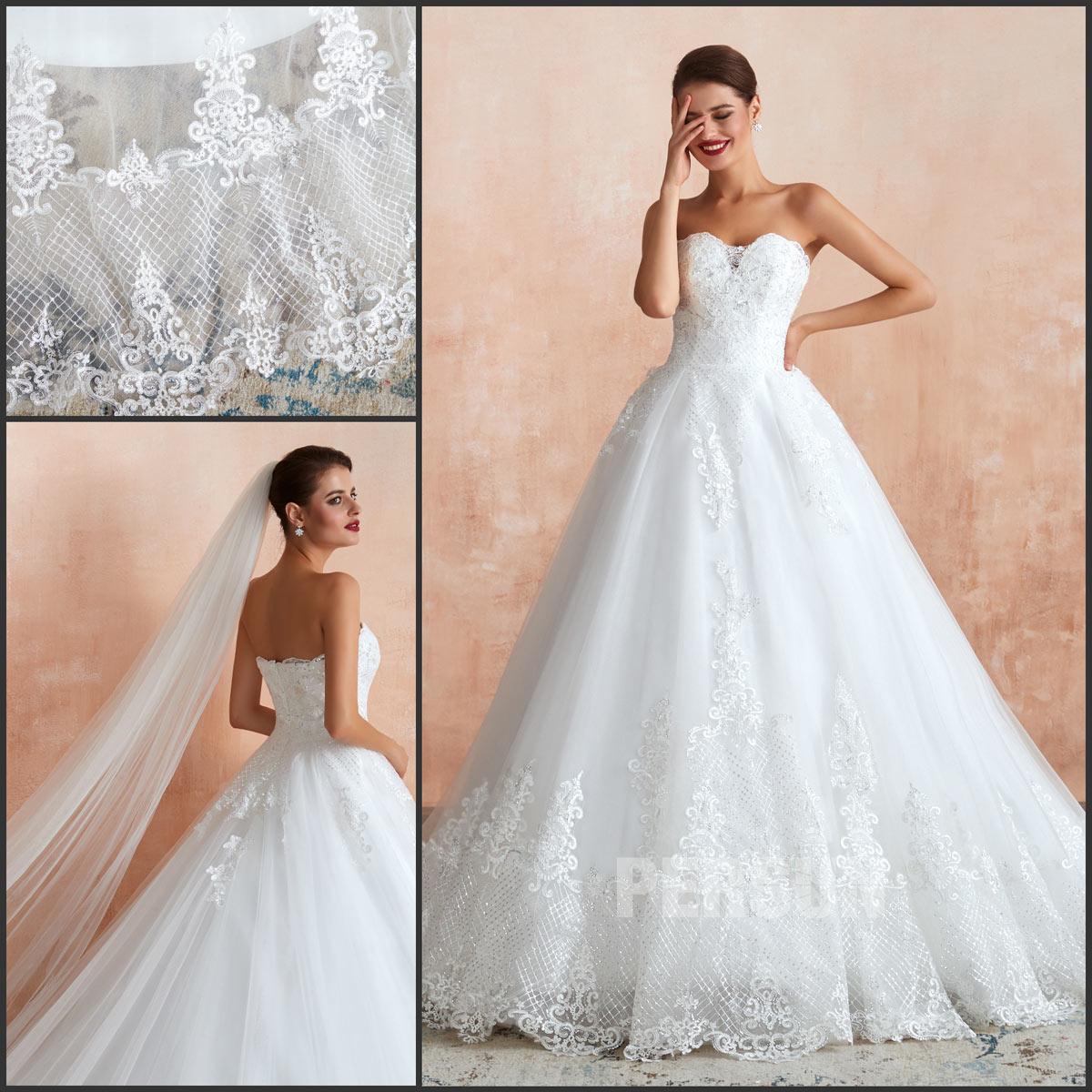 robe de mariée princesse bustier coeur dentelle de sequin vintage