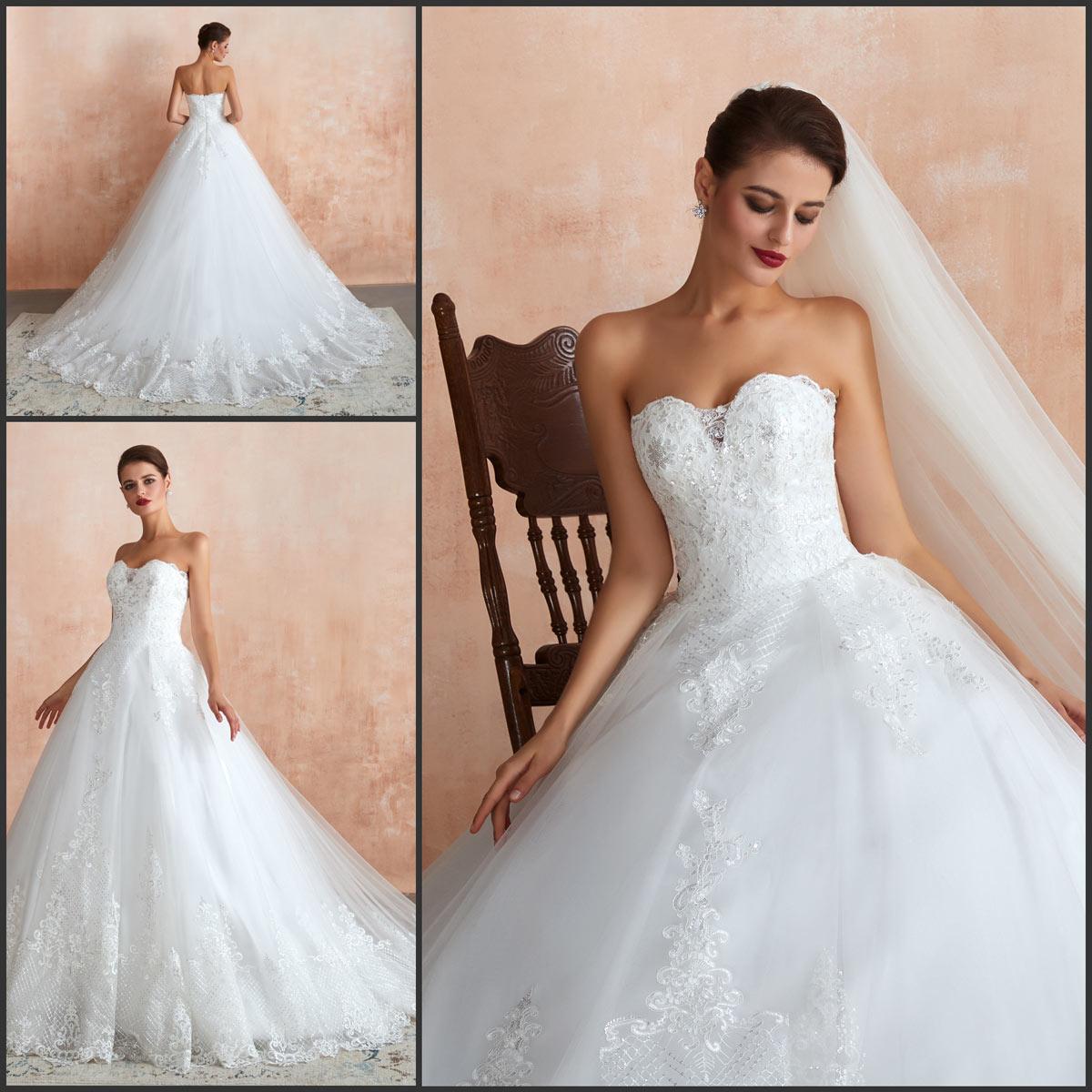 robe mariée princesse bustier coeur appliquée de dentelle de sequins à traîne