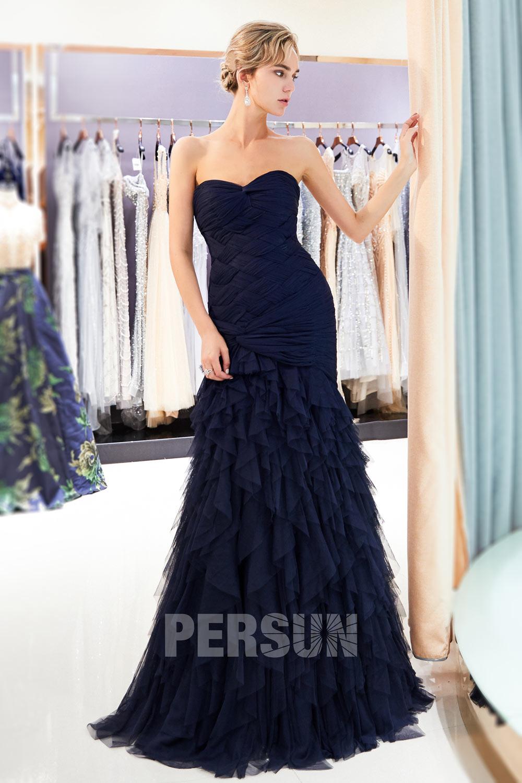 robe de soirée sirène bleu nuit bustier coeur plissé jupe froufrou à volant