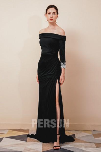Elégante Robe de soirée fendue noire épaules dégagées à traîne courte
