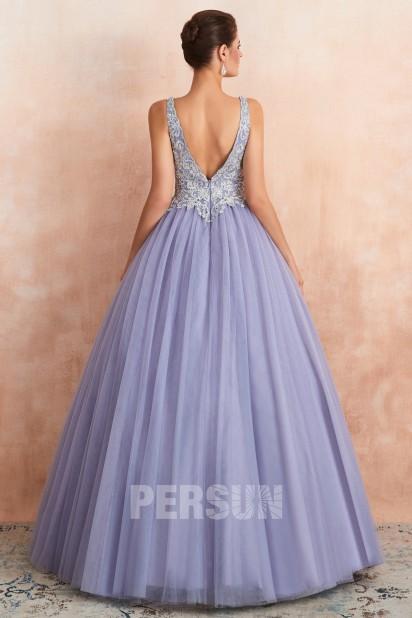 Robe Princesse Pour Soiree Mariage Lavande 2020 Haut Travaille Col V Persun Fr
