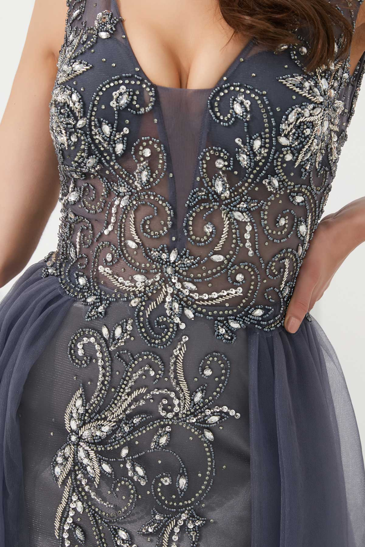 Robe de  soirée sirène bordeaux brodé de strass exquis jupe deux coupes