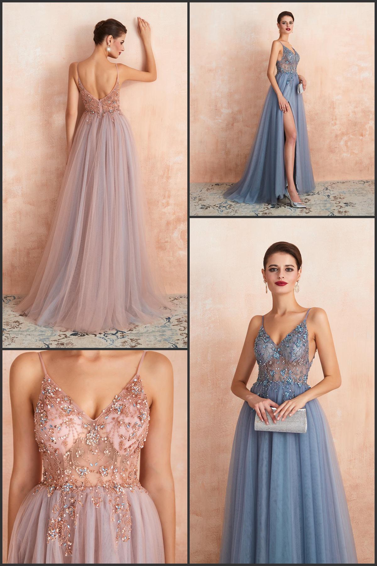 sexy robe fendue rose bleu pour étudiant soirée de fin d'année