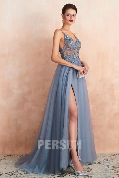 Sexy robe de bal bleu parme fendue taille transparent 2020