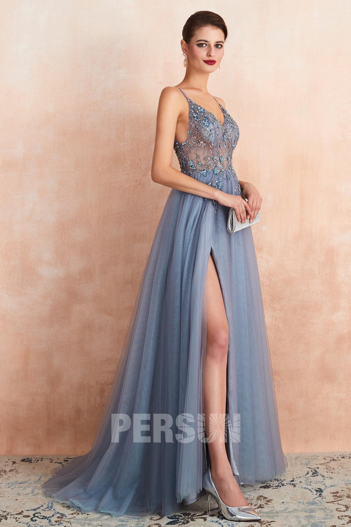 robe de bal longue bleu parme fendue sexy haut transparent ornée de bijoux