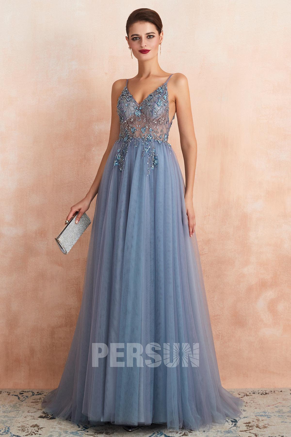 robe de soirée fendue bleu parme sexy haut embelli de bijoux transparent