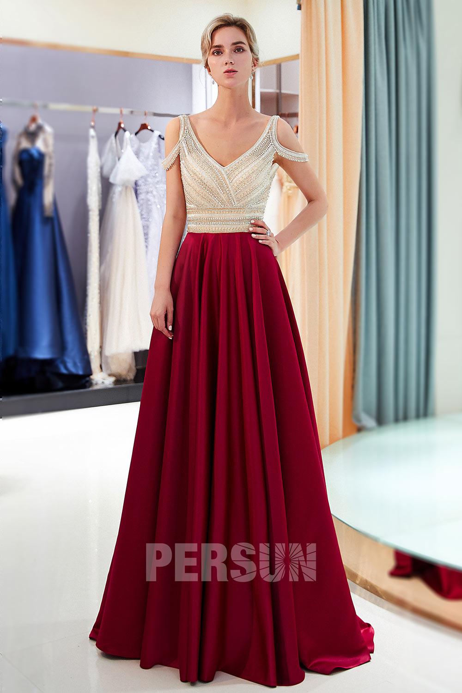 robe soirée longue col v haut champagne jupe bordeaux pour grande taille