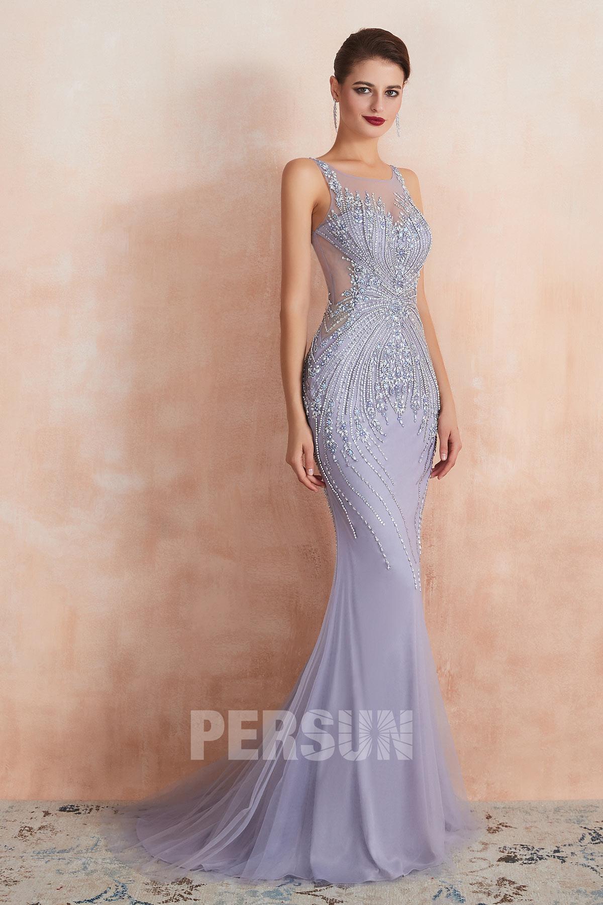 robe de soirée 2020 lavande sirène col illusion embelli de bijoux