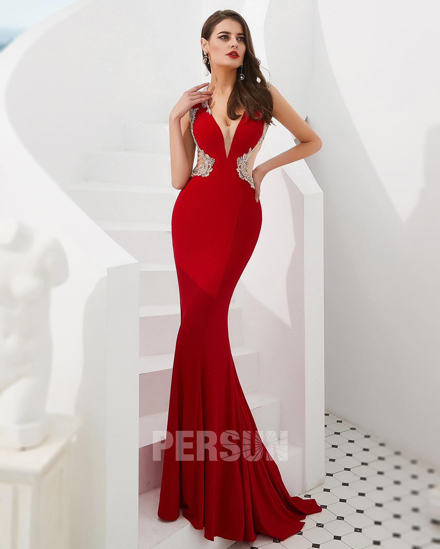 robe de soirée rouge sirène 2020 à col v plongeant