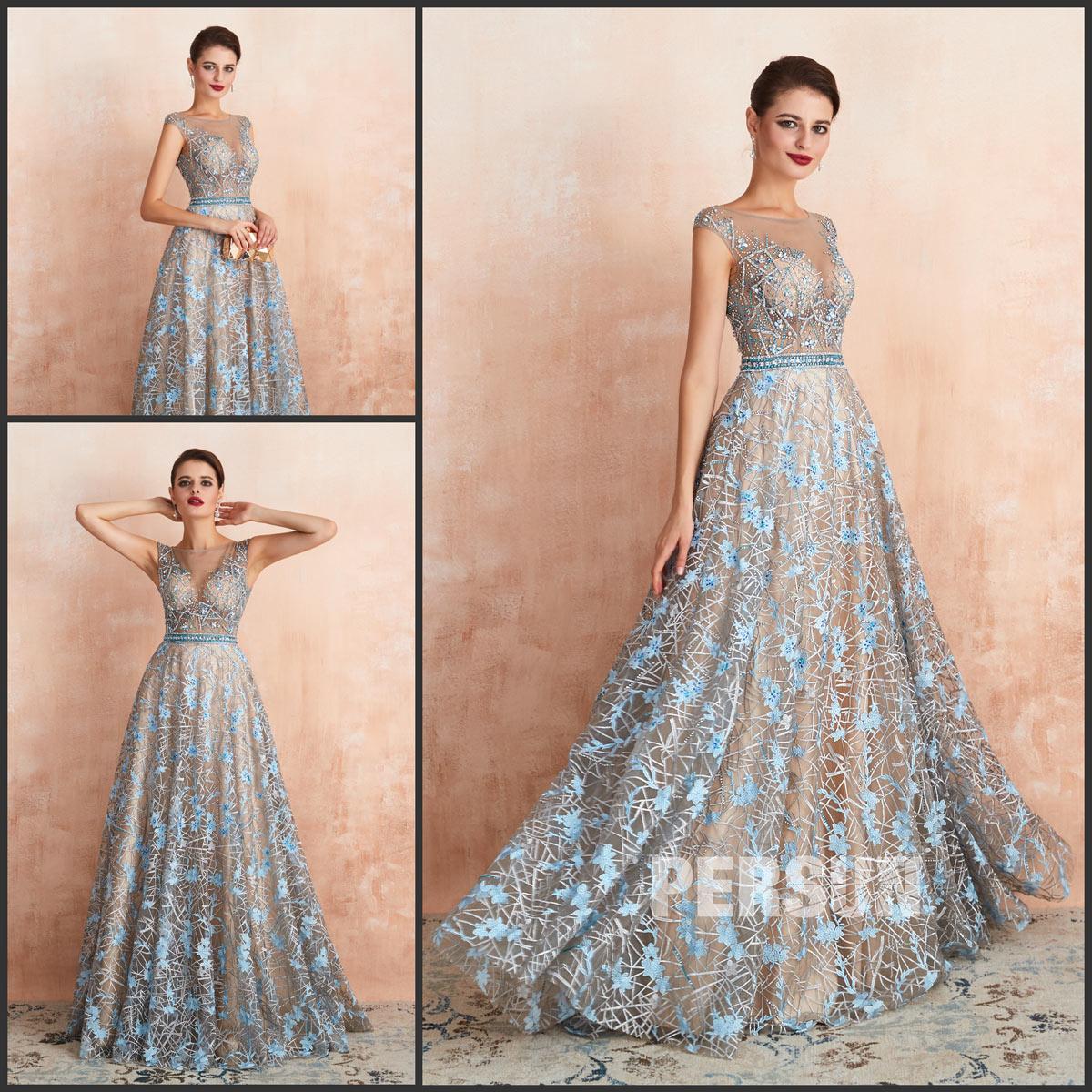 magnifique robe de cérémonie 2020 thème bleu argenté