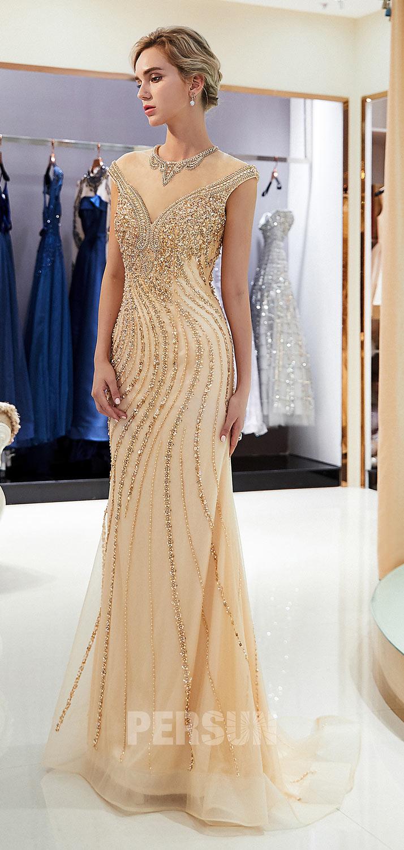robe cérémonie sirène longue champagne doré col illusion parsemé de bijoux
